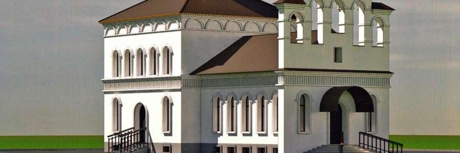 Макет храма в честь Николая Чудотворца. Храм спроектирован в кирпичном исполнении, высота 25 метров, вместимость до двухсот человек. При храме планируется построить просветительский центр.