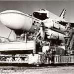Ракетоноситель «Энергия» и корабль «Буран»: вывод на старт. Октябрь 1988 года.